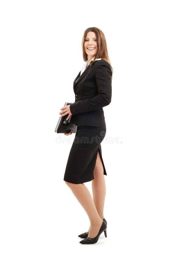Mulher de negócios com computador portátil imagens de stock royalty free