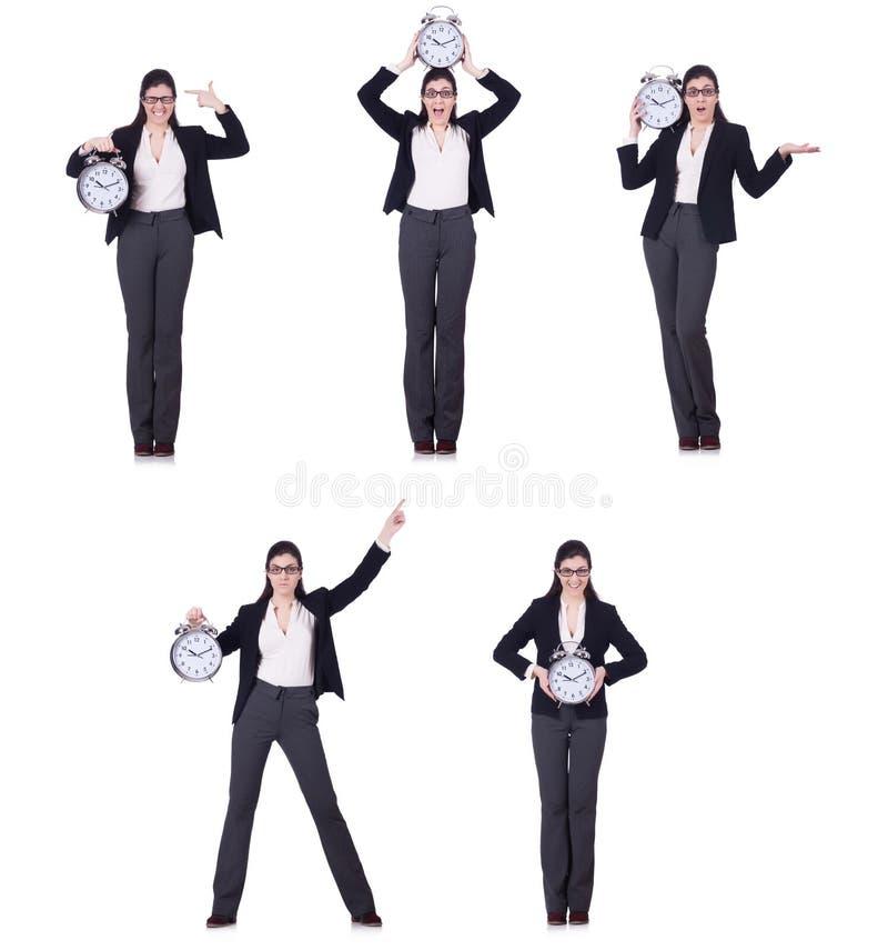 A mulher de negócios com conceito da gestão do pulso de disparo a tempo fotografia de stock royalty free