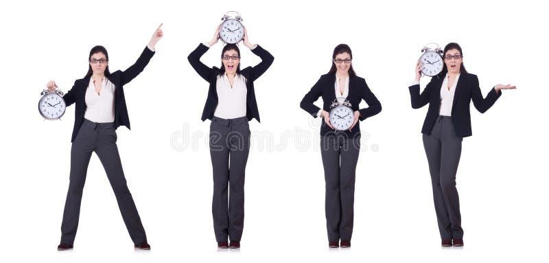A mulher de negócios com conceito da gestão do pulso de disparo a tempo imagens de stock