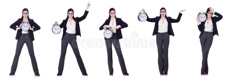 A mulher de negócios com conceito da gestão do pulso de disparo a tempo fotos de stock