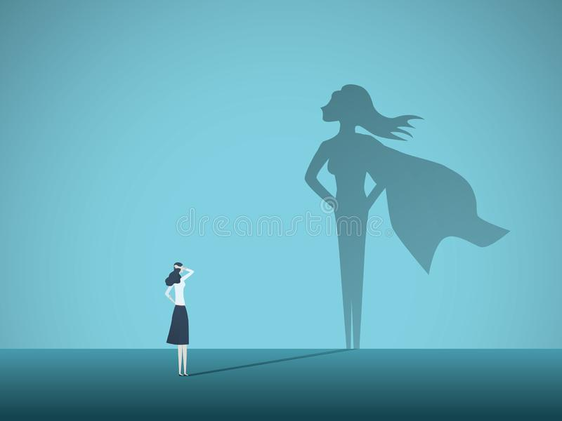 Mulher de negócios com conceito do vetor da sombra do super-herói Símbolo do negócio da emancipação, ambição, sucesso, motivação ilustração do vetor