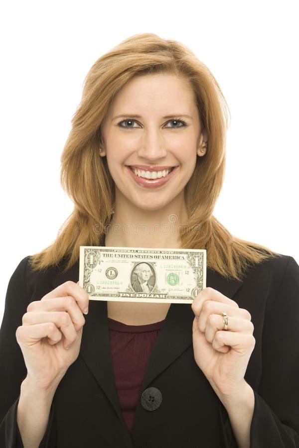 Mulher de negócios com conta de dólar fotos de stock