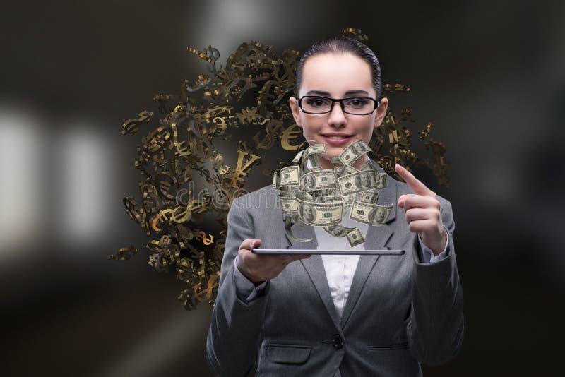 A mulher de negócios com dólar no conceito do negócio imagem de stock royalty free