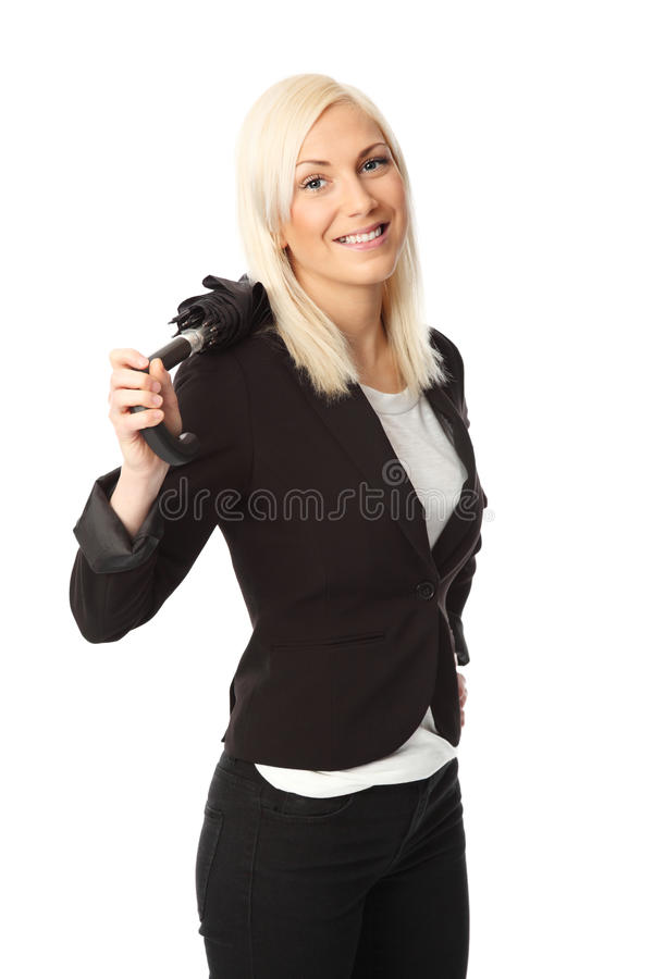Mulher de negócios com guarda-chuva imagens de stock royalty free