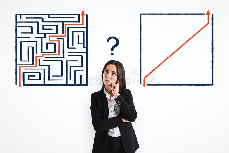 Mulher de negócios com labirinto foto de stock royalty free