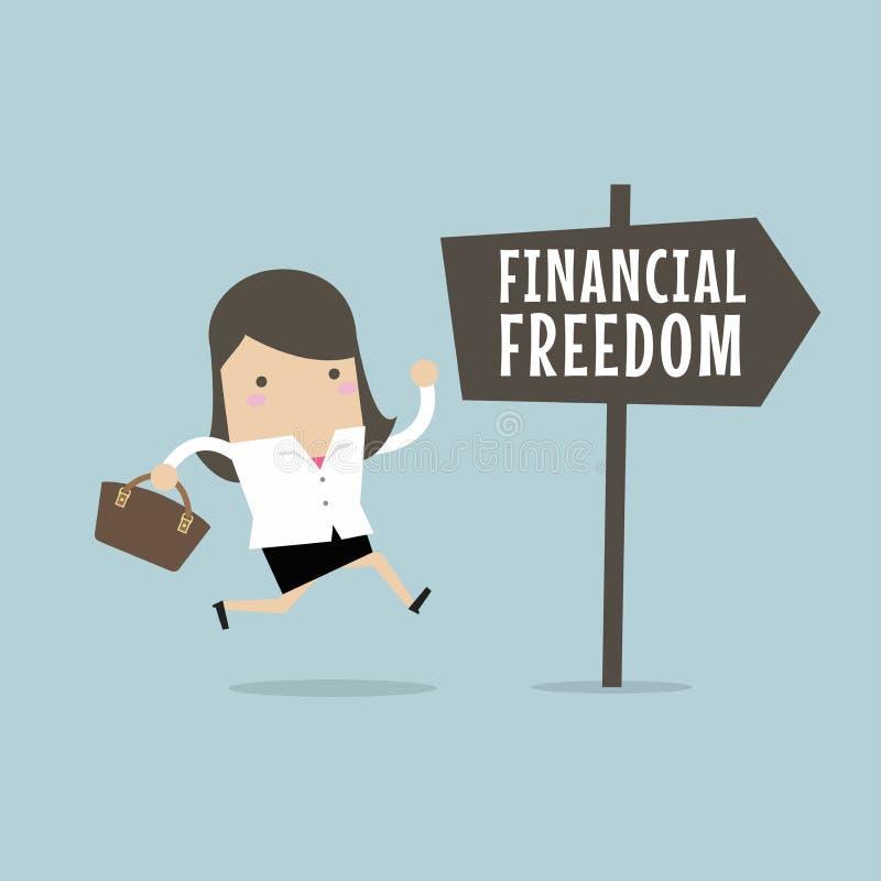 Mulher de negócios com liberdade financeira Conceito do negócio ilustração do vetor