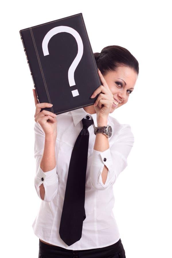 Mulher de negócios com livro da pergunta imagens de stock royalty free