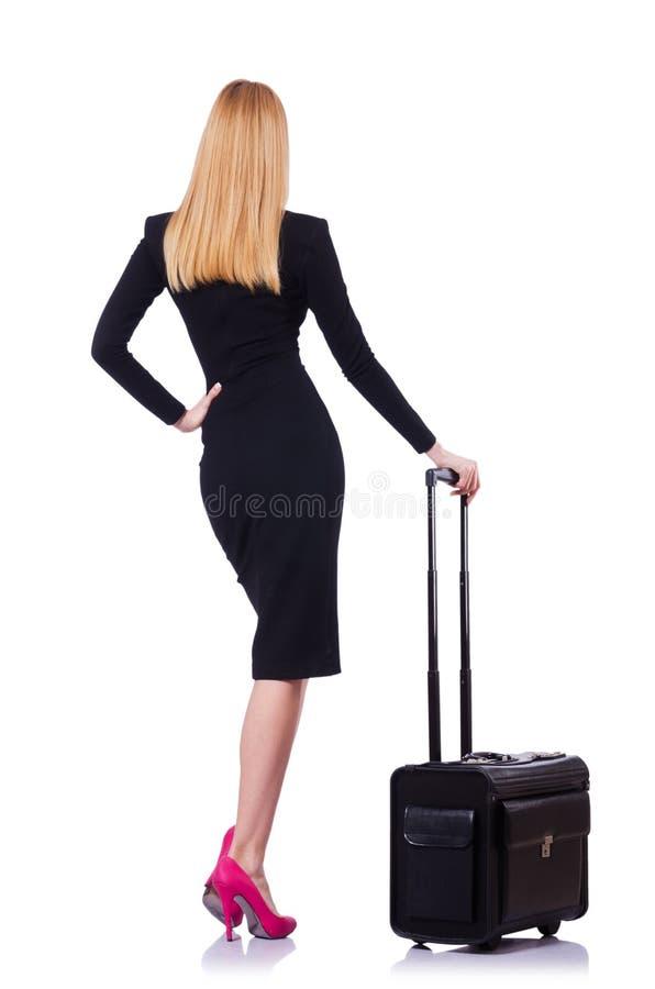 Mulher de negócios com mala de viagem fotografia de stock royalty free