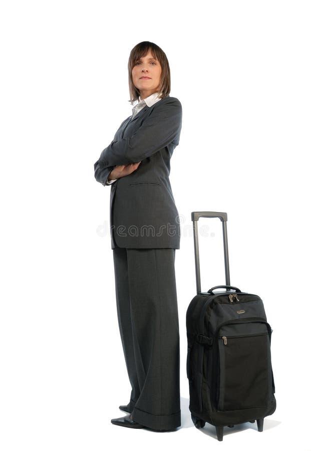 Mulher de negócios com mala de viagem fotos de stock royalty free