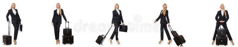 A mulher de negócios com a mala de viagem isolada no branco fotografia de stock royalty free