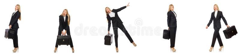 A mulher de negócios com a mala de viagem isolada no branco foto de stock royalty free