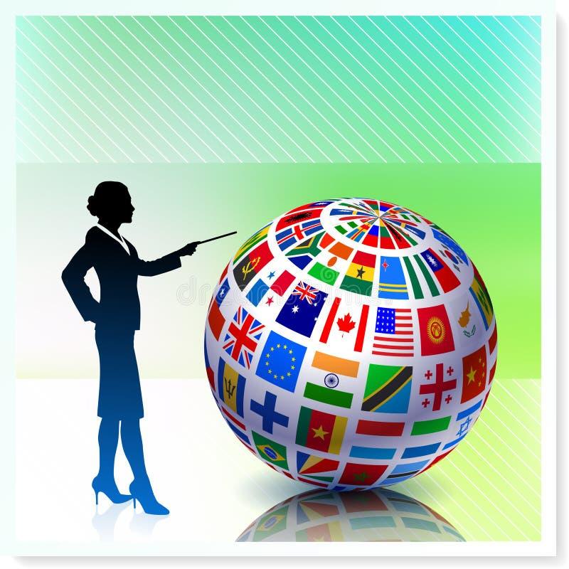 Mulher de negócios com o globo da bandeira no fundo do vetor ilustração do vetor