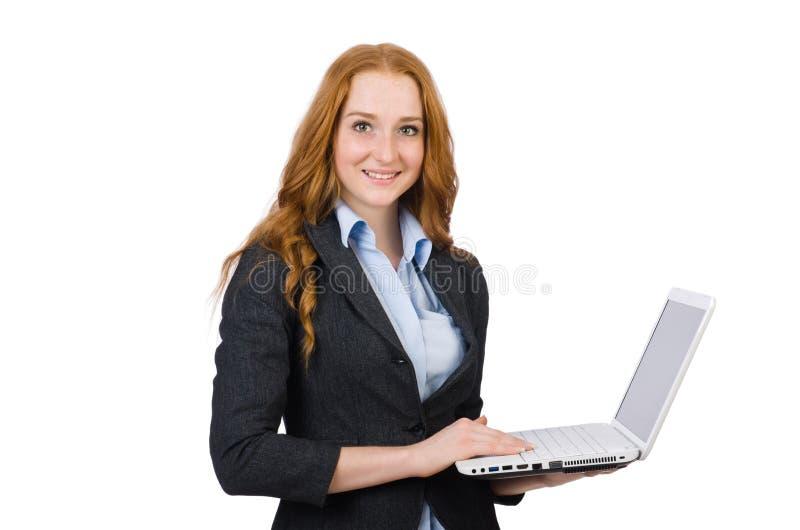 Mulher de negócios com o portátil isolado imagem de stock