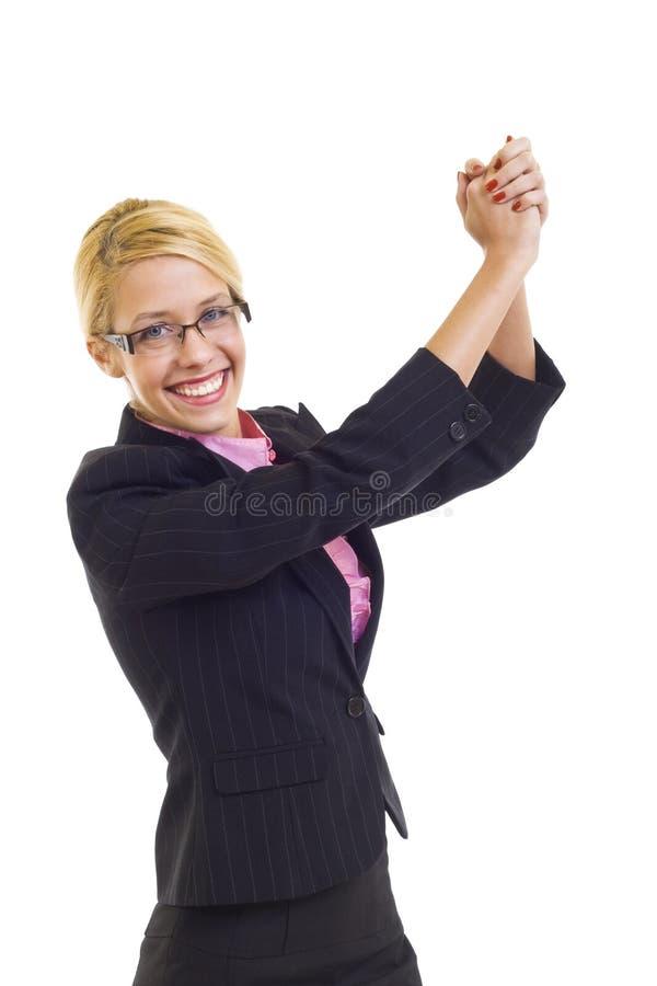 Mulher de negócios com os braços levantados fotografia de stock