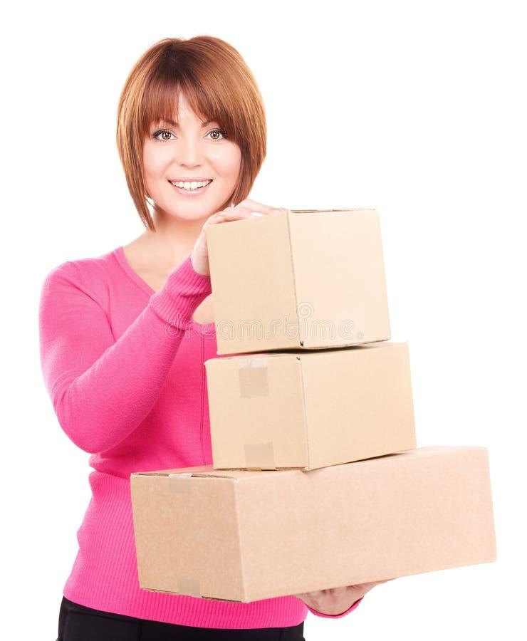 Mulher de negócios com pacotes fotografia de stock royalty free
