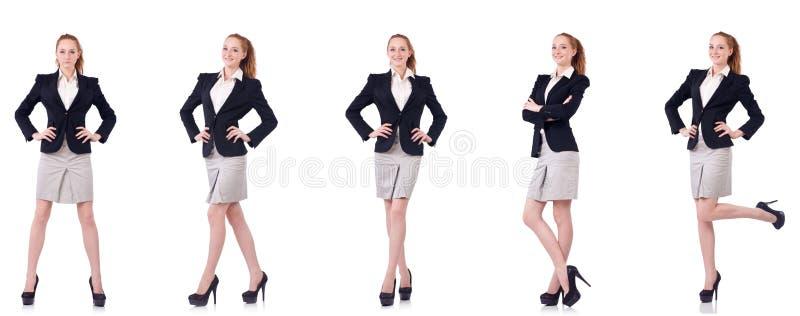 A mulher de negócios com a pasta isolada no branco imagens de stock royalty free