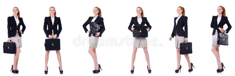 A mulher de negócios com a pasta isolada no branco imagem de stock