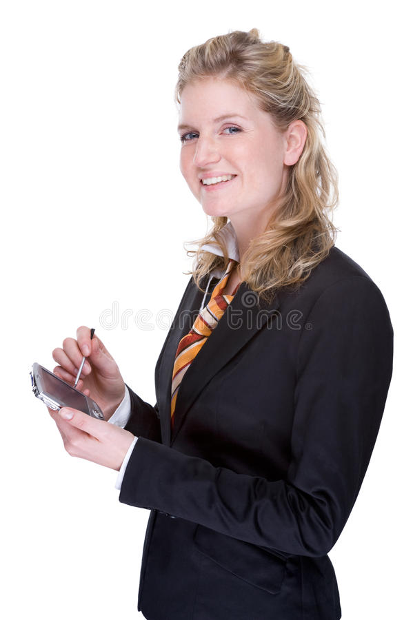 Mulher de negócios com PDA fotografia de stock royalty free