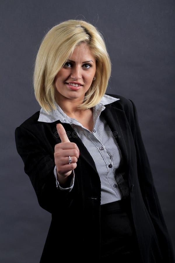 Mulher de negócios com polegar acima imagens de stock royalty free