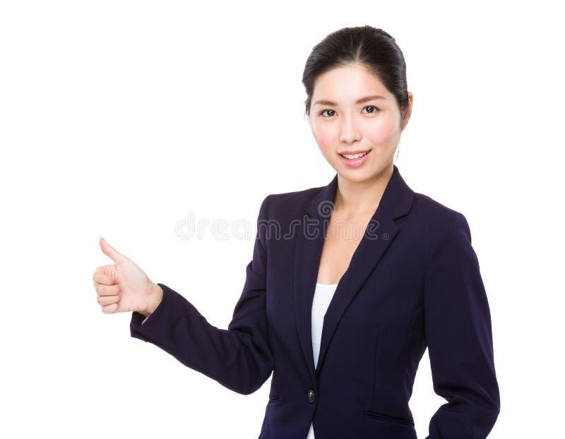 Mulher de negócios com polegar acima foto de stock royalty free