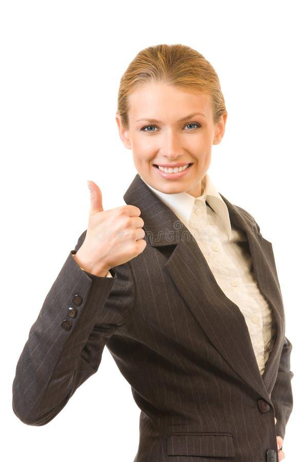 Mulher de negócios com polegar acima fotografia de stock