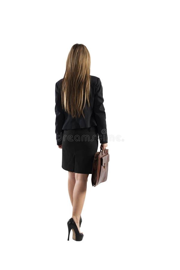 Mulher de negócios com pronto mau para ir Isolado no fundo branco imagens de stock