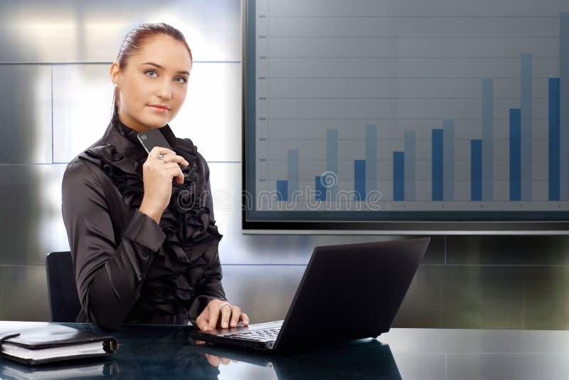 Mulher de negócios com resultados de negócio imagens de stock royalty free