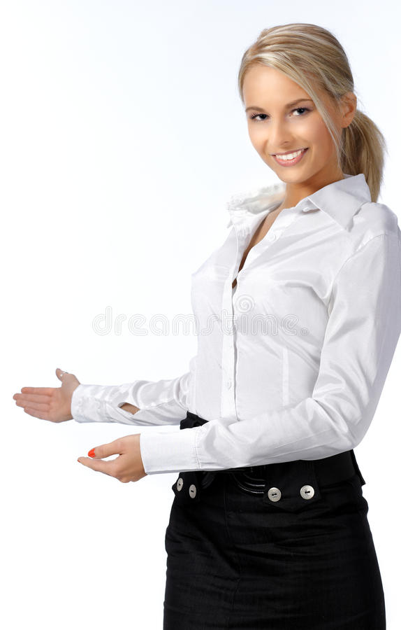 Mulher de negócios com seu braço para fora imagens de stock royalty free