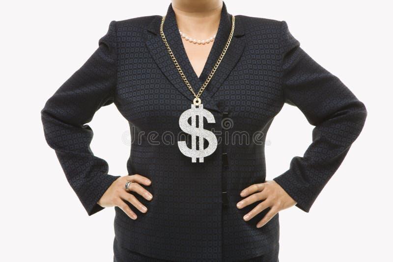 Mulher de negócios com sinal de dólar fotos de stock