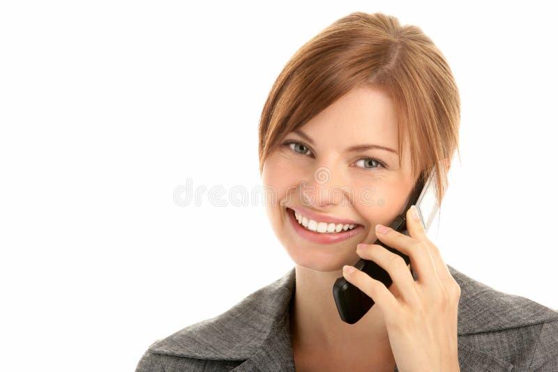 Mulher de negócios com telefone de pilha fotos de stock