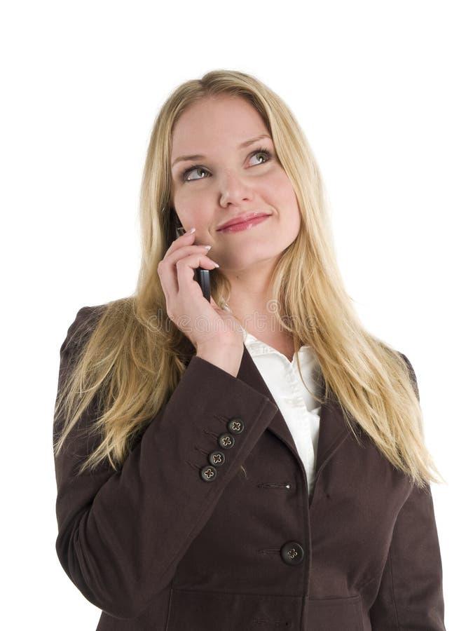 Mulher de negócios com telefone de pilha foto de stock royalty free