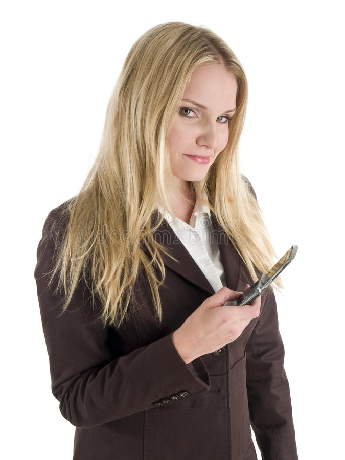 Mulher de negócios com telefone de pilha imagens de stock royalty free