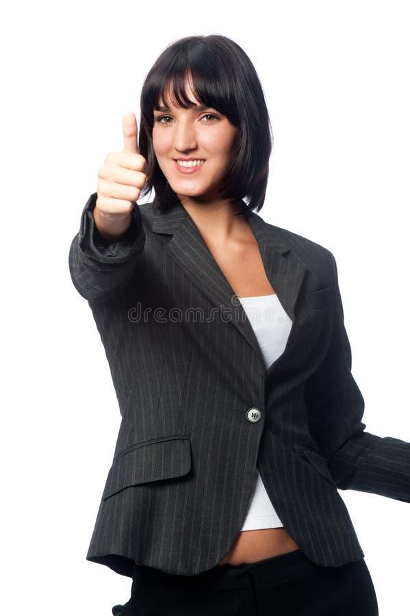 Mulher de negócios com um cartão em branco fotografia de stock royalty free