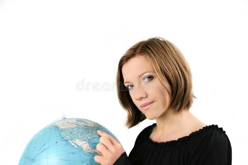 Mulher de negócios com um globo foto de stock
