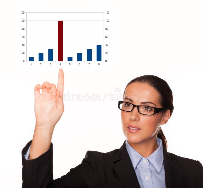 Mulher de negócios com um gráfico de barra fotografia de stock royalty free