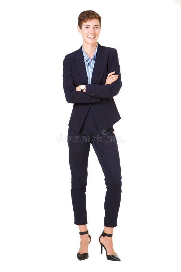 Mulher de negócios completa do corpo no terno formal isolado contra o fundo branco imagens de stock royalty free
