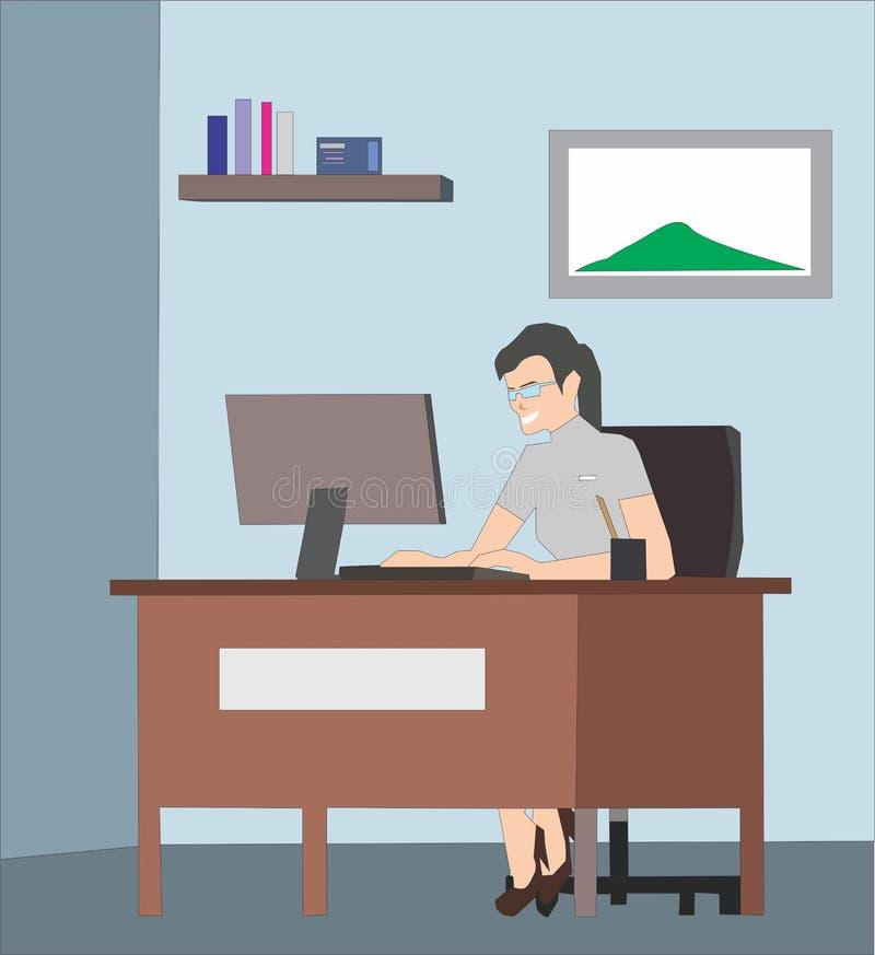 Mulher de negócios consideravelmente bonita que trabalha no computador em seu local de trabalho ilustração royalty free