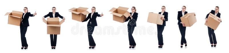 A mulher de negócios da mulher com as caixas no branco imagens de stock