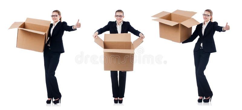A mulher de negócios da mulher com as caixas no branco foto de stock royalty free