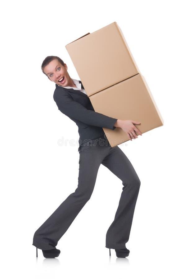 Mulher de negócios da mulher com caixas imagens de stock