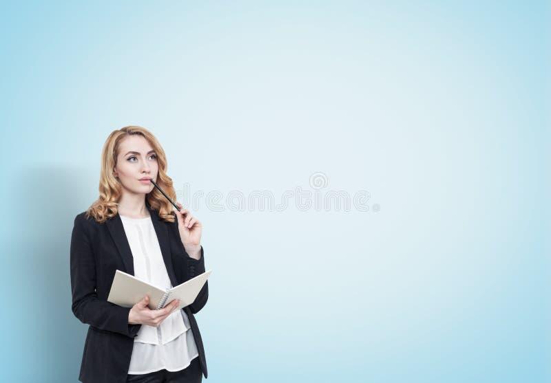 Mulher de negócios de cabelo vermelha com um caderno, azul imagem de stock royalty free