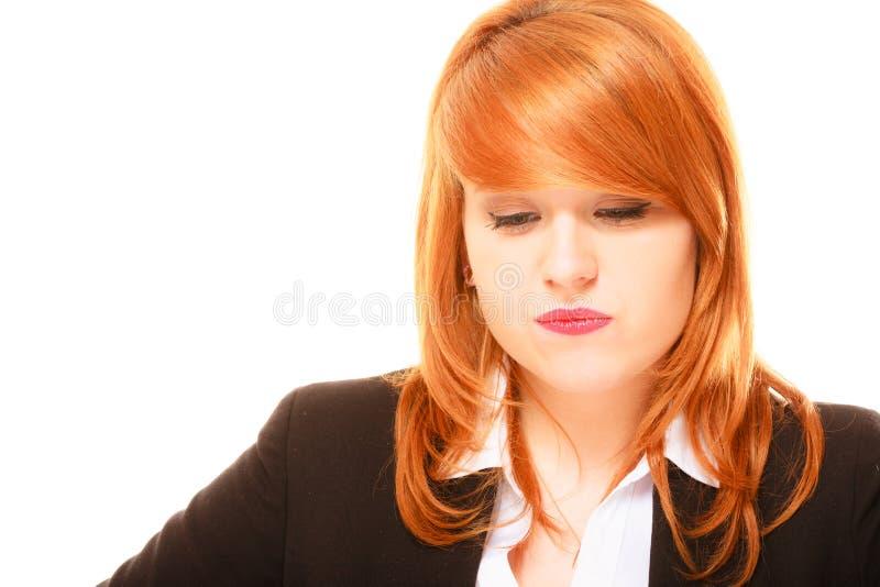 Download Mulher De Negócios De Cabelo Vermelha Infeliz Foto de Stock - Imagem de pergunta, decepcionado: 65576946