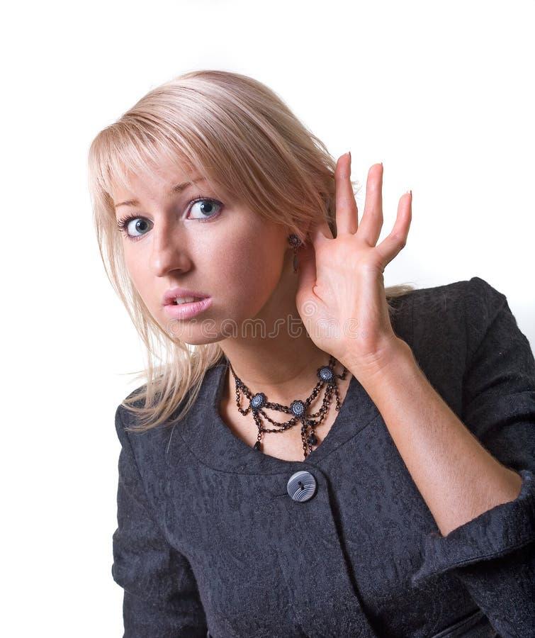 Mulher de negócios de escuta foto de stock royalty free