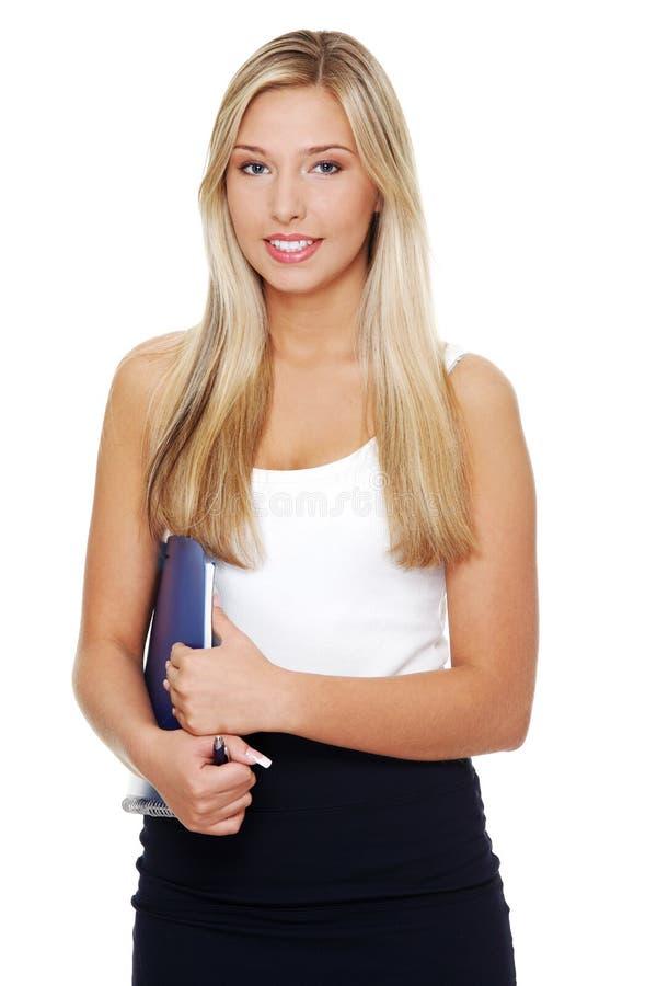 Mulher de negócios de sorriso feliz nova. foto de stock royalty free