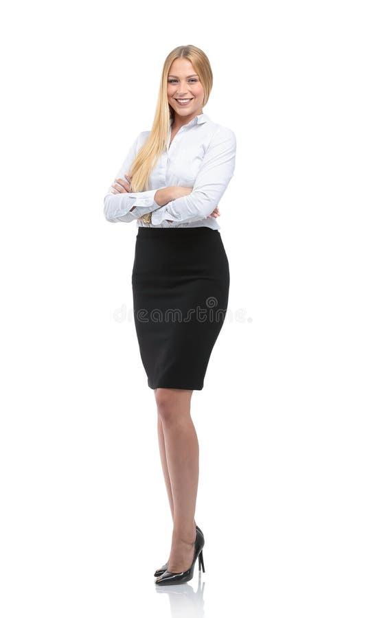 Mulher de negócios de sorriso nova isolada no branco imagens de stock royalty free