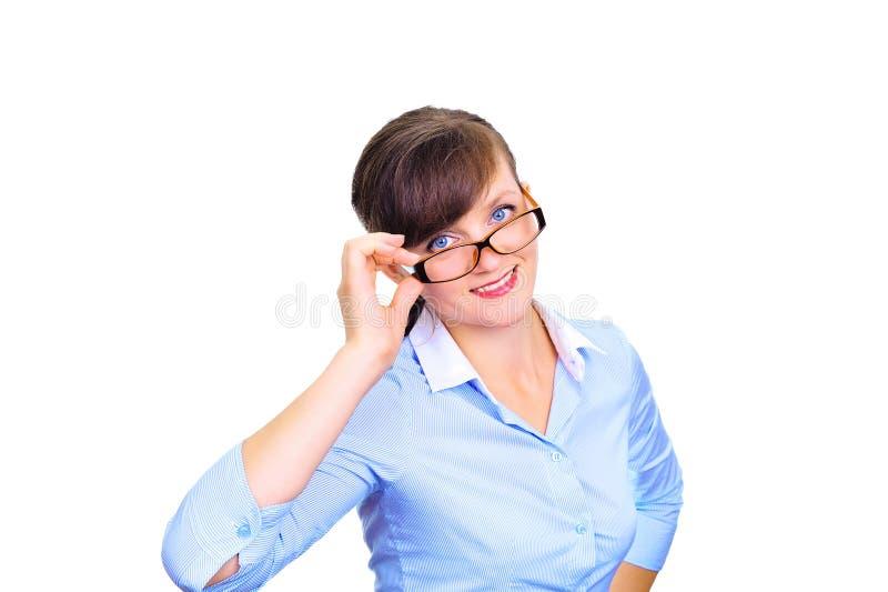 Mulher de negócios de vista agradável com vidros foto de stock royalty free