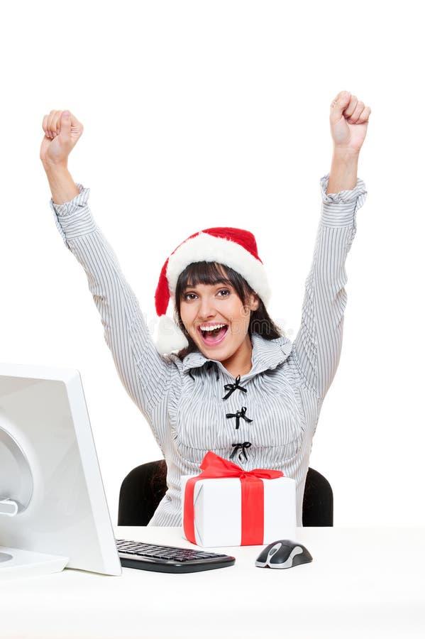 Mulher de negócios do Natal no escritório fotos de stock royalty free
