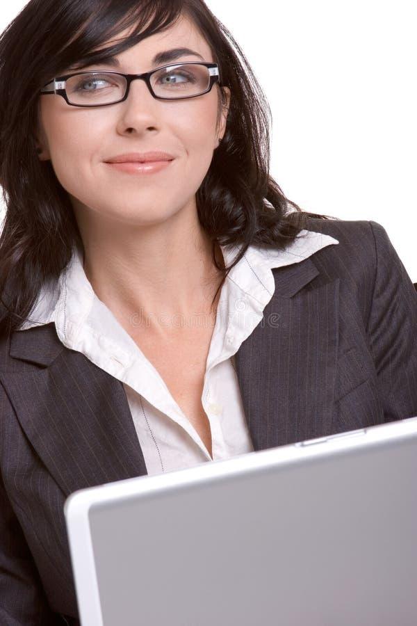 Mulher de negócios do portátil imagens de stock
