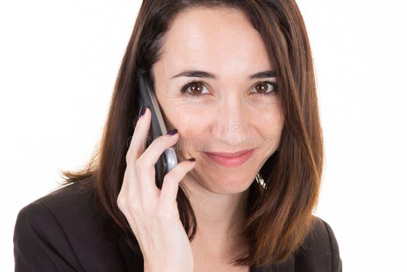 Mulher de negócios do retrato do close up com telefone de uma comunicação foto de stock royalty free