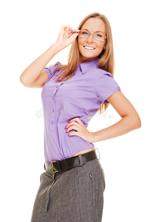 Mulher de negócios do smiley nos vidros imagens de stock